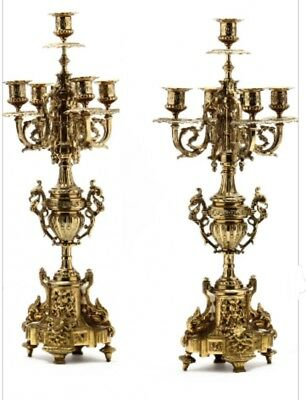 (2) Antique 1920s FRENCH LOUIS XV Type BRONZED Floral CANDELABRA old CANDLESTICK