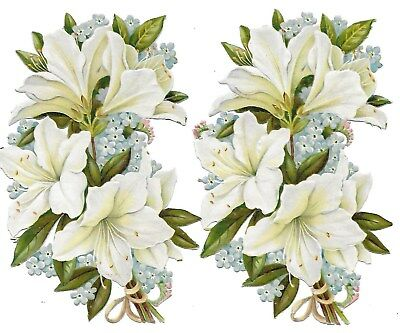 Antique Victorian Diecut Scraps Set of 2 Bouquets of White Lilies and  1890s