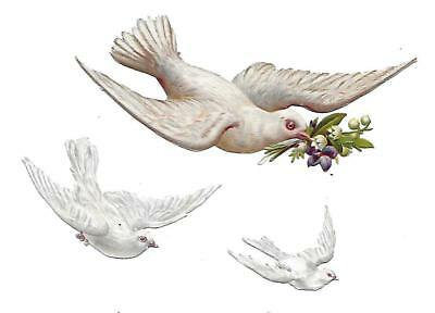 Antique Victorian Diecut Scrap White Dove carrying Violet and Lily of the 1890s