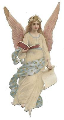 Antique Victorian Diecut Scrap Angel with Pink Wings Announsing the News 1890s