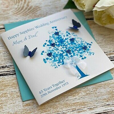 Handmade Personalised 45th Sapphire Wedding Anniversary Card Mum Dad Nan Grandad