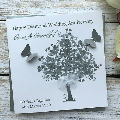 Handmade Personalised Diamond Wedding Anniversary Card Mum Dad Nan Grandad Mom