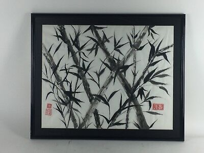 Vintage Painting On Rice Paper Chinese Bamboo Watercolor Signed Framed