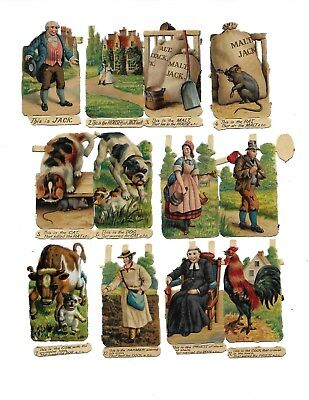 Antique Victorian Diecut Scraps Set of 12 from the House That Jack Built 1890s