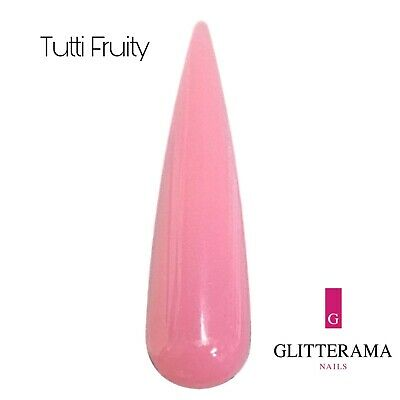 Pink coloured acrylic powder Glitterama 10g pot nail art tutti fruity