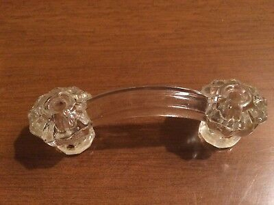 Antique GLASS Cabinet Vintage Drawer Door Pull Handle Round Scalloped Edge