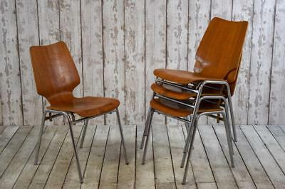 Superb Vintage Mid Century Danish Teak and Chrome Stacking Cafe Bar Chairs