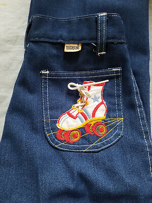 vintage girls  jeans toughskins roller skates roller derby with lace Sears sz 12