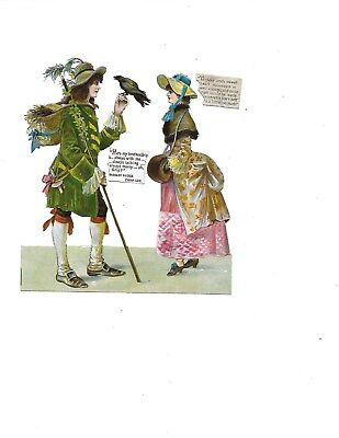 Antique Victorian Diecut Scrap Dickens Barnaby Rudge with Grip and Dolly Varden