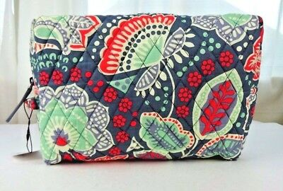 995aa2a1f15 VERA BRADLEY LARGE Cosmetic Bag Nomadic Floral NWT Ships Free Cotton ...