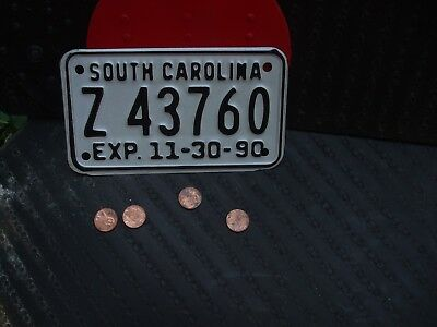 1990 SOUTH CAROLINA MOTORCYCLE LICENSE PLATE   (Z 43760)   ...in good condition