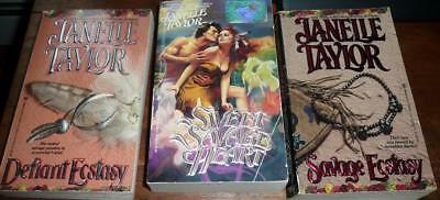 lot of 3 Janelle Taylor : Sweet Savage Heart / Defiant Ecstasy / Savage Ecstasy