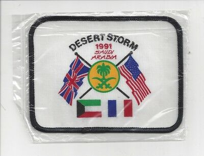 OPERATION DESERT STORM SAUDI ARABIA UK - USA 1991 PATCH 3.75 x 4.75 IN PACKAGE