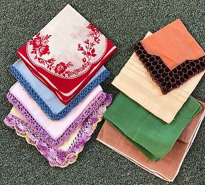 Lot of 8 Vintage Solid Color or Crocheted Edges Hankies Handkerchiefs