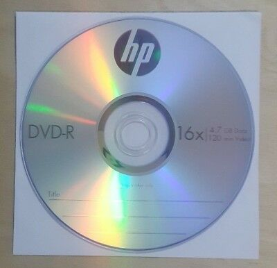 BLANK DVD-R Recordable Disc Media with Paper Sleeve 4.7 GB 120 Min HP