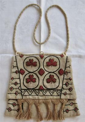 antique ARTS & CRAFTS Embroidered Natural LINEN PURSE Clubs & Diamonds mint !