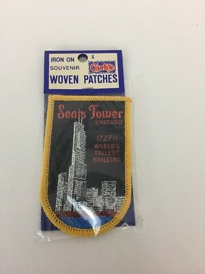 Vintage Chicago SEARS TOWER Worlds Tallest Building Souvenir Patch Badge New NOS