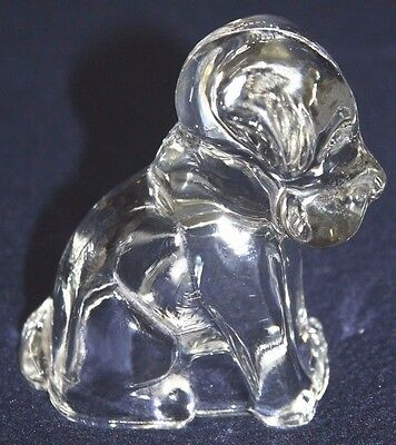 Vintage Prescut Glass Candy Container sitting Dog shape hollow open bottom