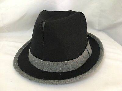 87ecbb1552e51e San Diego Hat Co Felt Wool Polyester Fedora Hat Black Gray Men's Size Large  EUC