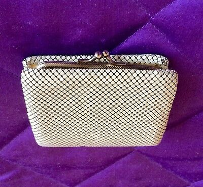 Vintage Cream Gold Glomesh Style Tri Fold Wallet - Credit Card Slots