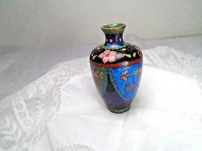 antik Vase Messing Emaille Cloisonne 78,5 x 45 mm / 44,3 g Schmetterlinge Blumen