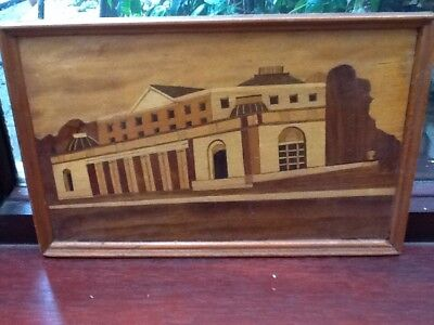 Unusual Inlaid Wooden Picture Of A Large Building Vintage 31cm X 20cm