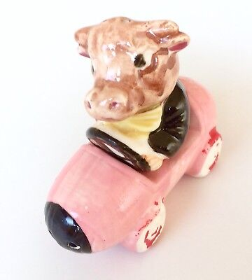 Vintage Cow Driving A Car Salt And Pepper Shakers - 1950's Japan