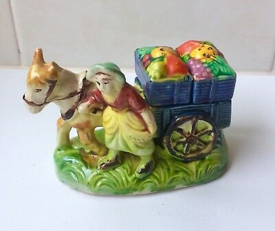 Vintage Donkey And Cart With Flower Baskets Salt And Pepper Shakers - 1940's