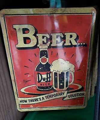 Universal Studios Exclusive The Simpsons Duff Beer Metal Sign New Mancave