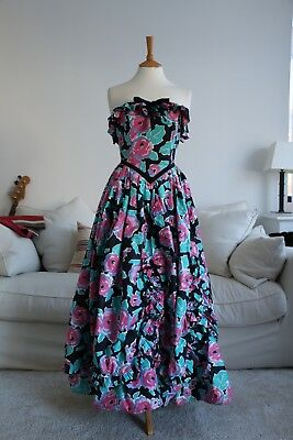 Vintage 1980s Laura Ashley Pink Green Black Ruffled Cotton Ball Gown Floral 8
