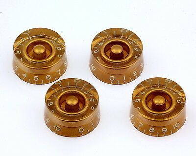 Speed Knobs Gold Vintage fits Gibson* fully tint/White Numbers US/CTS Potis Set4