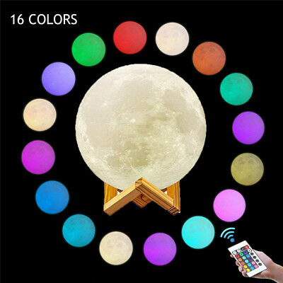 16Color 3D Printing Moon Lamp USB LED Night Light Touch +Remote Control (8-20cm)