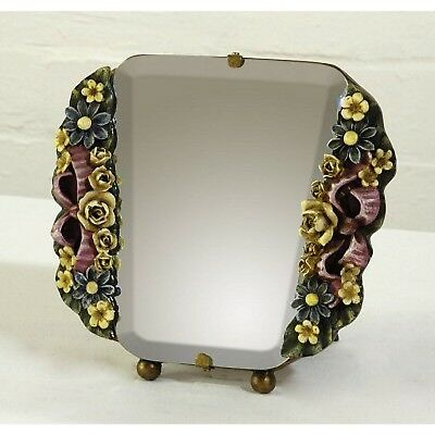 Art Deco Vintage Style Yellow Pink Green Grey Flower Bedroom Table Wall Mirror