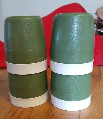 Set of 4 Vintage Olympian Therm-O-Ware Insulated Tumbler Cups Green Camp Kids