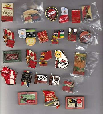 25 Assorted Coca-Cola Pins Olympic, Soccar,   Football Special Events Cccc  .#1