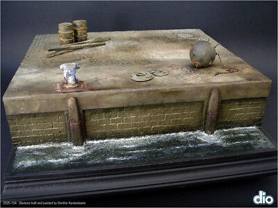Built & Painted Diorama Base (25cm square) 1:35 Old Dock Section w/ Accessories