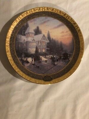 "Thomas Kincade ""Victorian Christmas"" Collector Plate, 2000, never displayed, new"