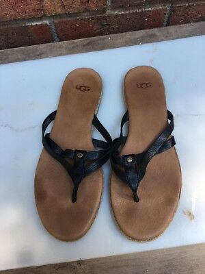 e99a90f7c7104 UGG ANNICE BLACK Leather with Jute Strappy Thong Sandals 1016119 ...