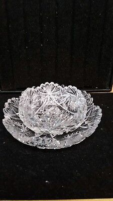 Antique Vintage American Brilliant Period Cut Crystal Glass Lace round dish