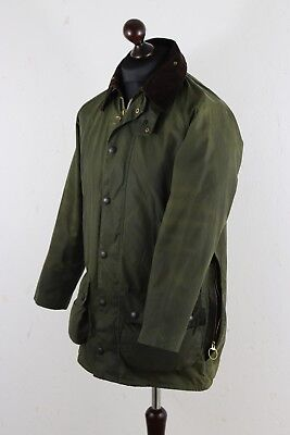 Vntg BARBOUR BEAUFORT Waxed JACKET size C 36  / 91 cm Green Made in England