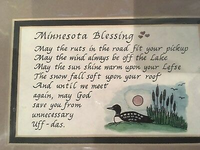 Minnesota Blessing Print with Matting - Loon - Ready for Frame - Uff-Das - Lefse