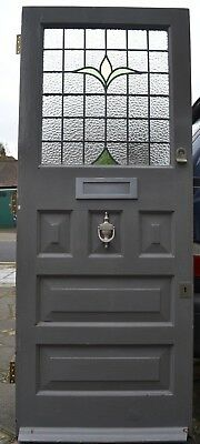 RESTORED English stained glass front door R416. SHIPPING INSURANCE INCLUDED
