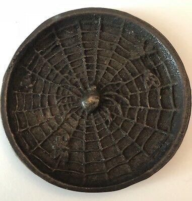 "E T Hurley Signed Bronze 3 5/8"" Spider Tray Or Dish, Arts & Crafts Style"