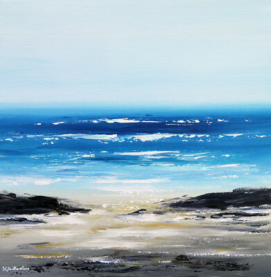 ORIGINAL SEASCAPE CANVAS PAINTING, Sarah Featherstone Sea View, Beach, Waves ART