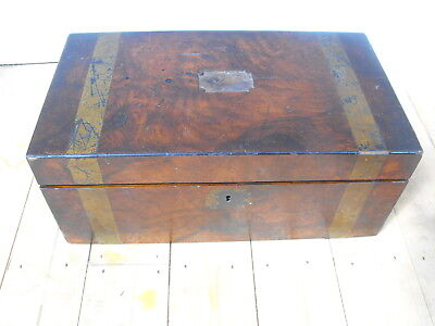 VIntage Victorian Antique Writting slope with inlaid brass 45cm x 25cm x 18.5cm