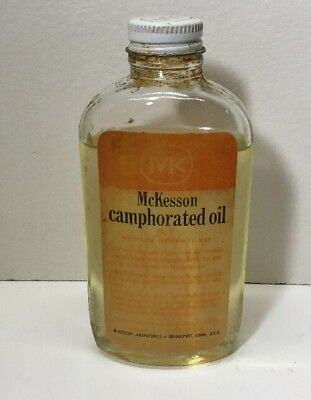 Vintage McKesson Camphorated Oil Medicine Bottle With Cap Contents Label