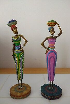 Black African Lady Women Figurines Statue Baskets on Heads Home Decor Set 8.5""