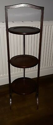 ANTIQUE WOODEN FOLDING 3 TIER CAKE STAND AFTERNOON TEA WEDDING ( 2 available)