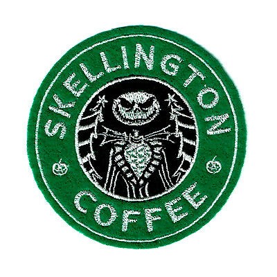 Skellington Coffee Embroidered Iron-On Patch Nightmare Before Christmas Jack