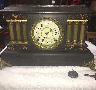 Antique Seth Thomas Adamantine 6-Column Mantle Shelf Clock w/ KEY - Lion Heads